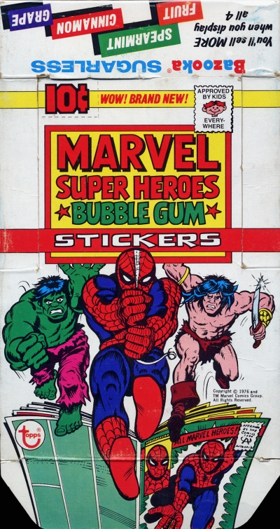 Marvel Stickers 1976 box