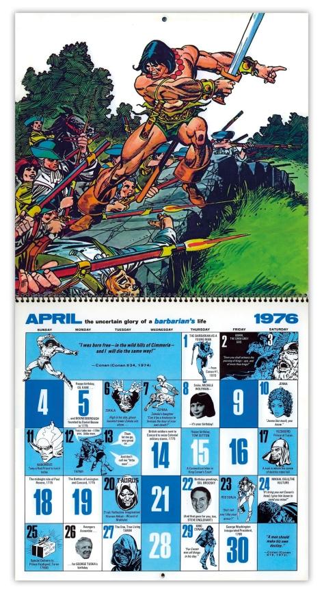 Marvel Bicentennial calendar 1976 April