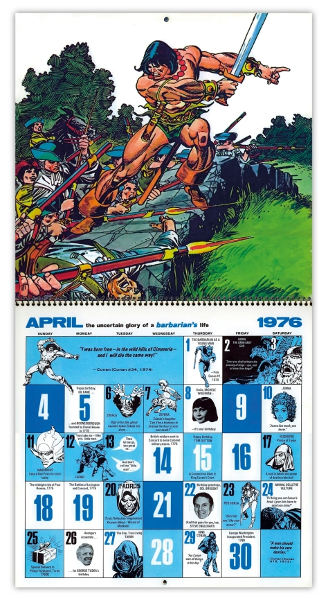 Marvel Bicentennial calendar 1976 April