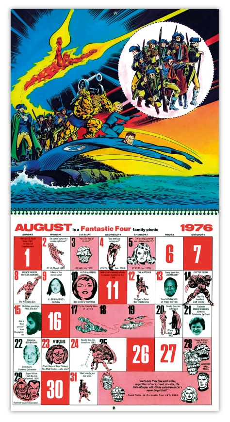 Marvel Bicentennial calendar 1976 August