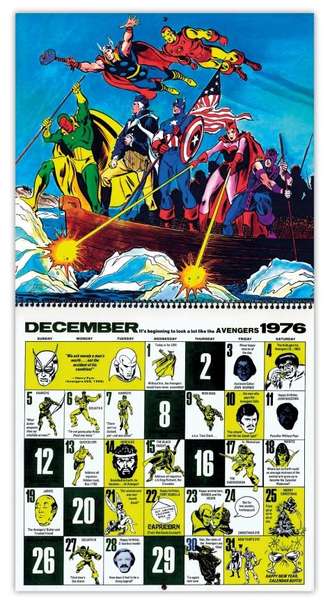 Marvel Bicentennial calendar 1976 December
