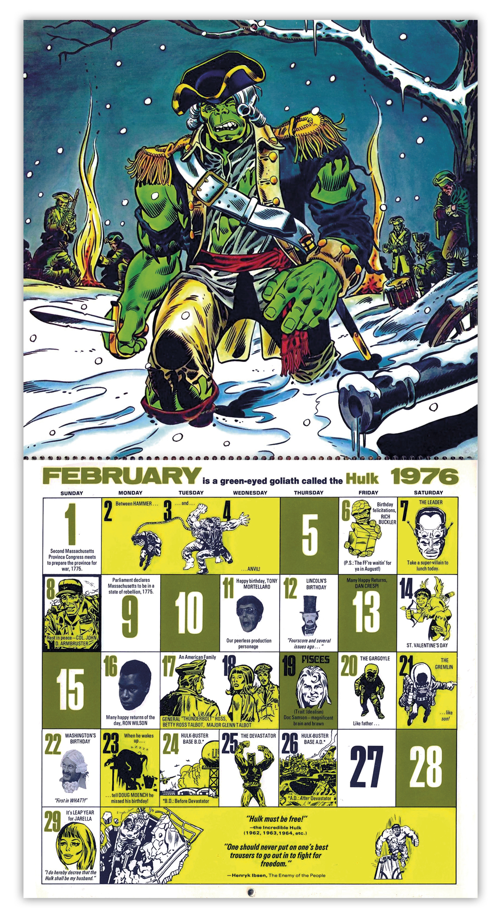 The Mighty Marvel Bicentennial Calendar 1976 Tain T The