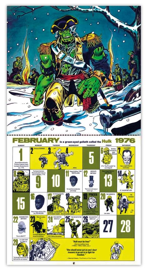 Marvel Bicentennial calendar 1976 February