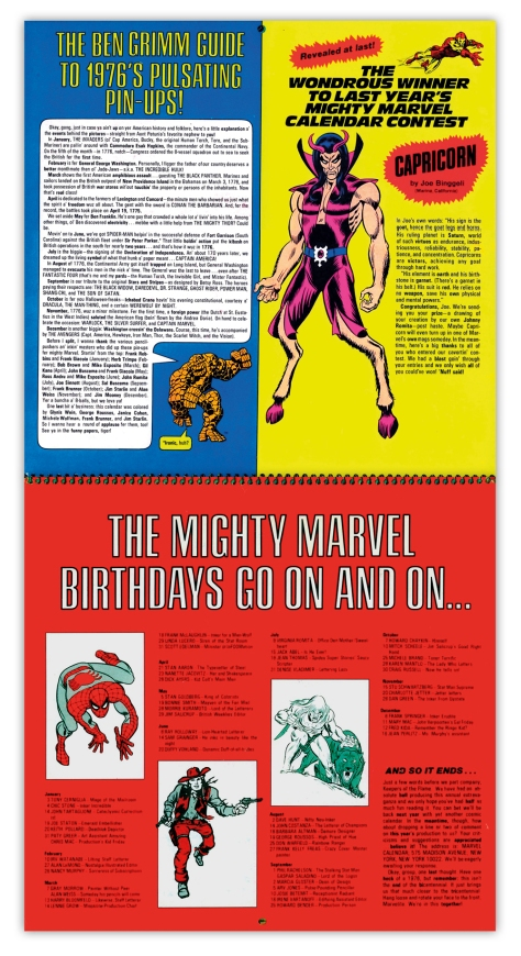 Marvel Bicentennial calendar 1976 Inside back cover