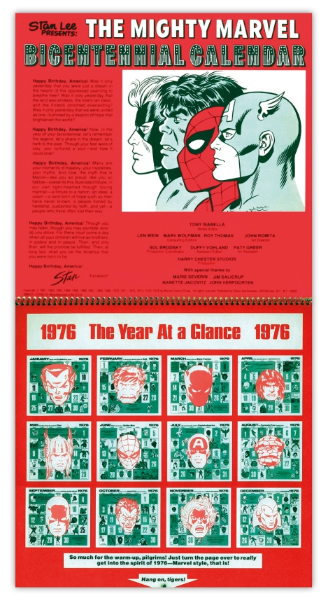 Marvel Bicentennial calendar 1976 inside cover