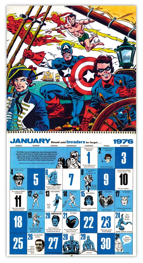Marvel Bicentennial calendar 1976 January