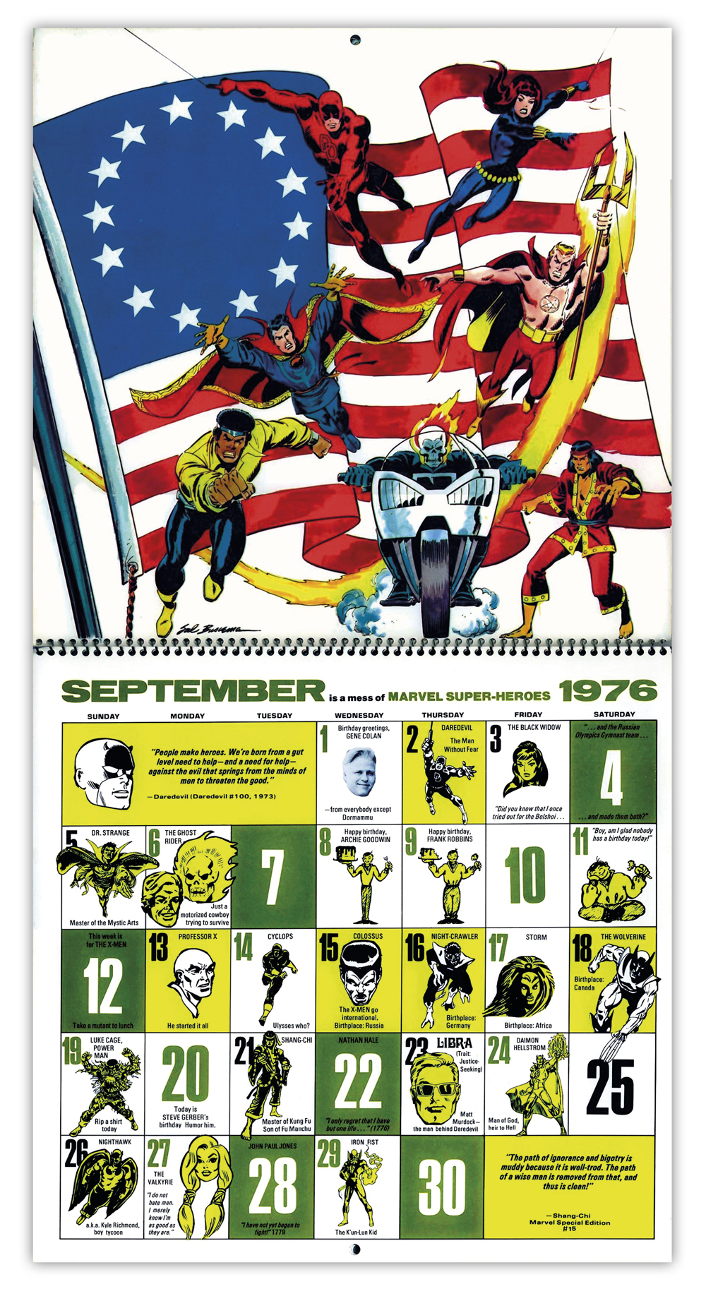 The Mighty Marvel Bicentennial Calendar 1976 Tain T The Meat
