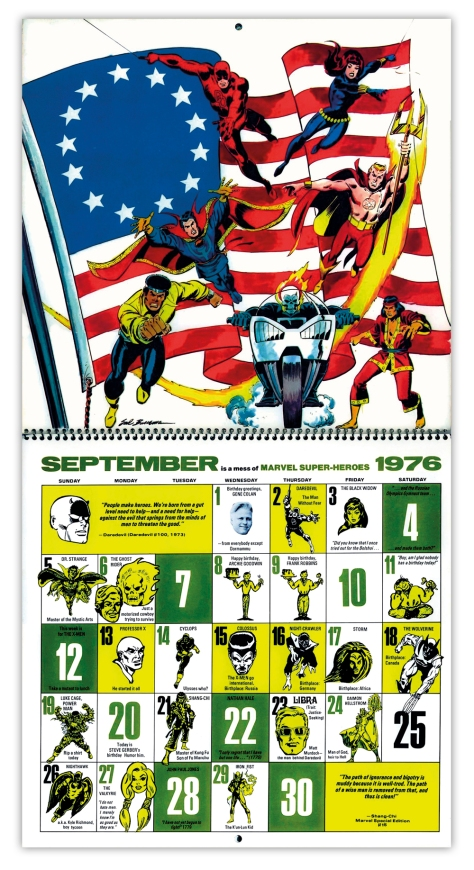 Marvel Bicentennial calendar 1976 September