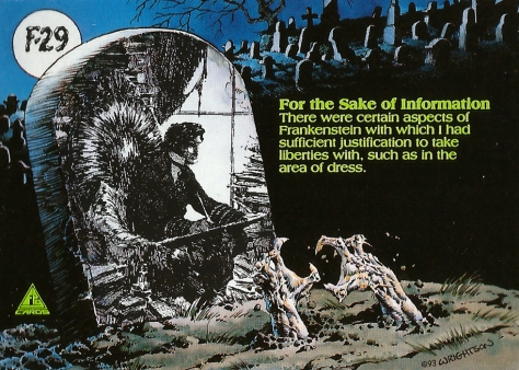 Bernie Wrightson's Frankenstein Trading Cards #29, back