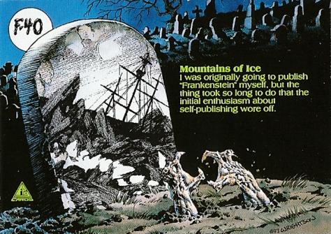 Bernie Wrightson's Frankenstein Trading Cards #F-40, back