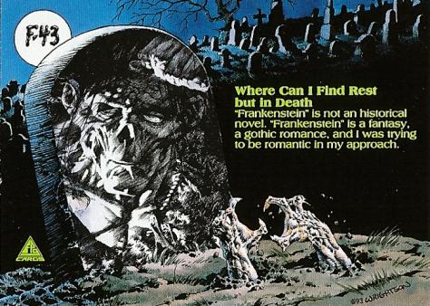 Bernie Wrightson's Frankenstein Trading Cards #F-43, back