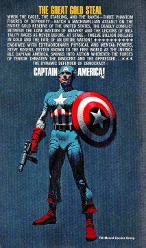 The back cover of Captain America: The Great Gold Steal