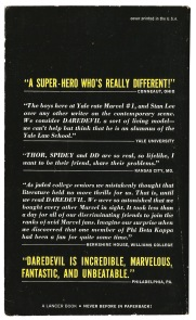 Testimonials from the back cover of Here Comes... Daredevil