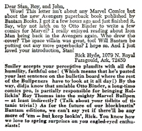 Reader letter from The Avengers, issue #46