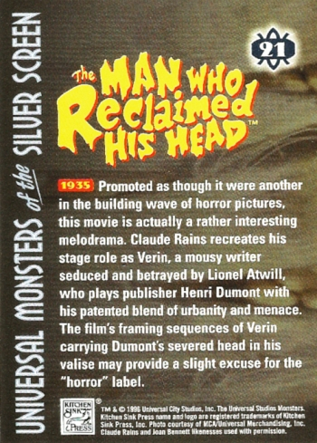 Universal Monsters Trading Cards #21