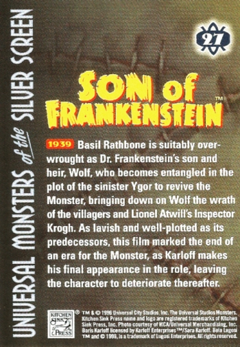 Universal Monsters Trading Cards #27