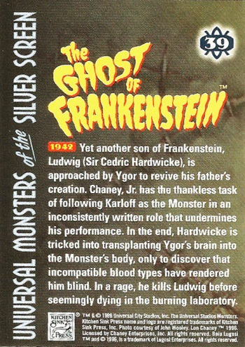 Universal Monsters Trading Cards #39