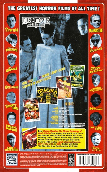 Universal Monsters Trading Cards, back of the box