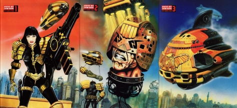 2000 AD Progs 953, 954 and 955 back covers