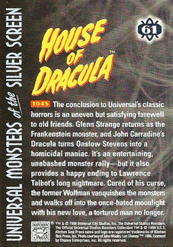 Universal Monsters Trading Cards #61