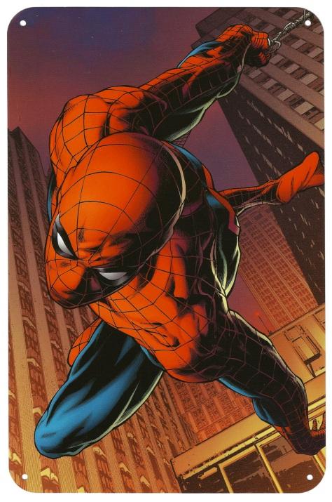 Spider-Man Steel Gallery Portfolio tin plate. Artwork by Joe Quesada.