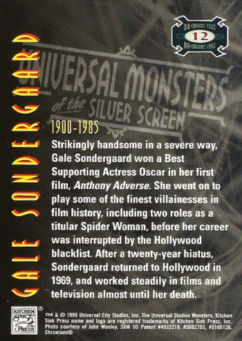 Universal Monsters Trading Cards Bio-Chrome card #12