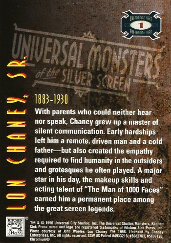 Universal Monsters Trading Cards Bio-Chrome card #1