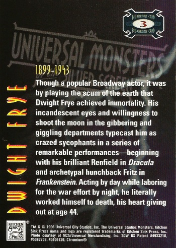 Universal Monsters Trading Cards Bio-Chrome card #3