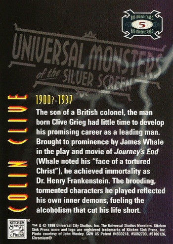 Universal Monsters Trading Cards Bio-Chrome card #5