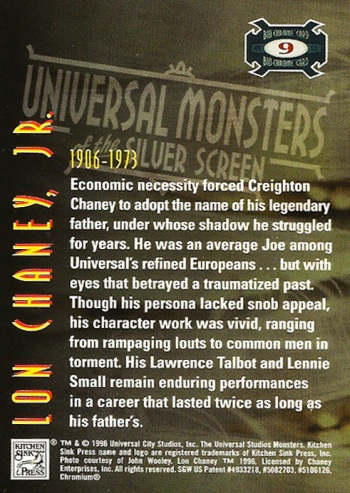 Universal Monsters Trading Cards Bio-Chrome card #9
