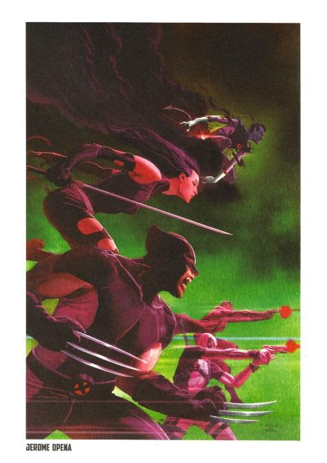 Wolverine Steel Gallery Portfolio, plate 2. Artwork by Jerome Opena.