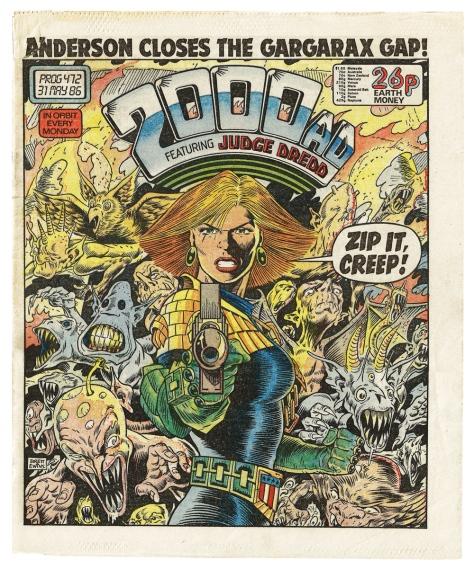 2000AD Prog #472. artwork by Brett Ewins.