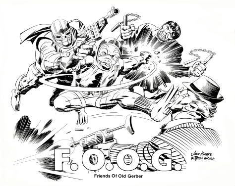 The F.O.O.G (Friends of Old Gerber Portfolio, artwork by Jack Kirby and Alfredo Alcala.