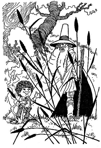 Bilbo Le Hobbit, black and white illustration