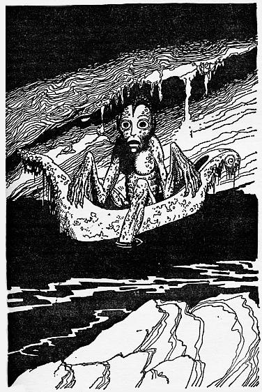 Bilbo Le Hobbit, black and white illustration