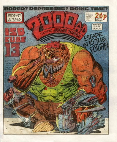 2000AD comic prog #497. Artwork by Kevin O'Neill