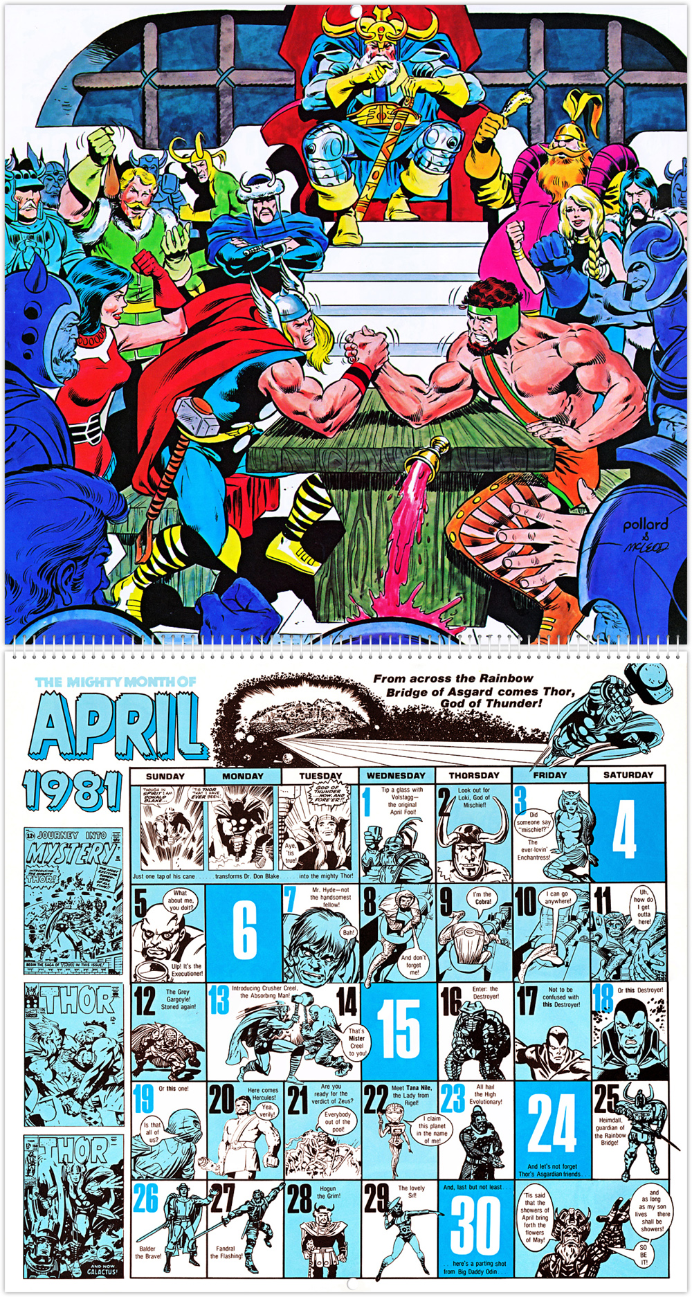marvel comics u2019 20th anniversary calendar 1981