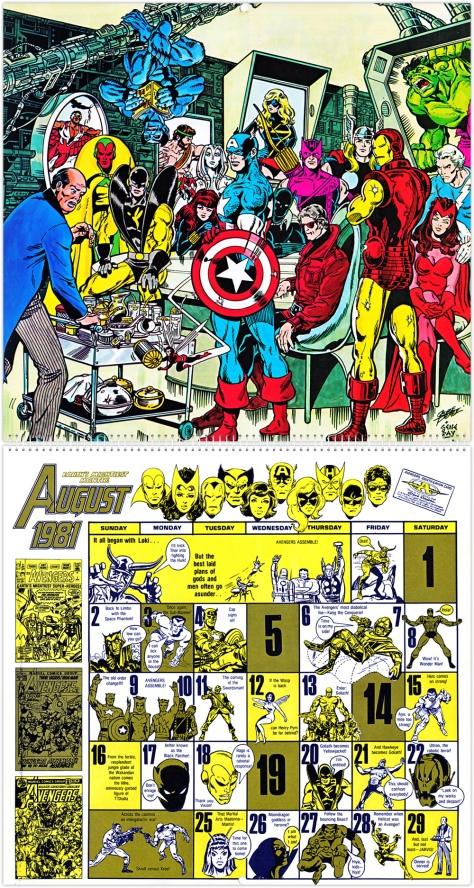 Marvel 20th Anniversary Calendar 1981, August