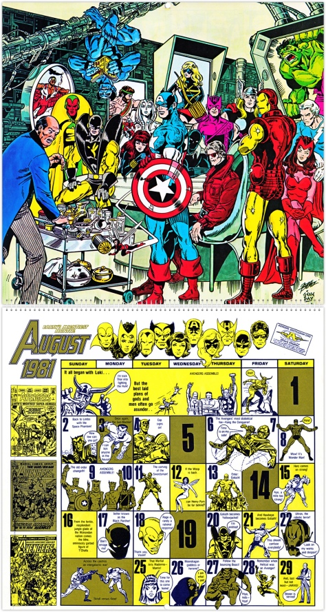 Marvel 20th Anniversary Calendar 1981, August