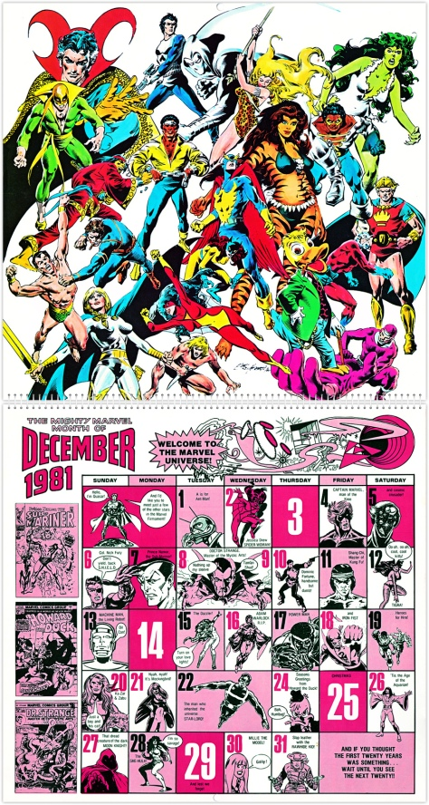 Marvel 20th Anniversary Calendar 1981, December
