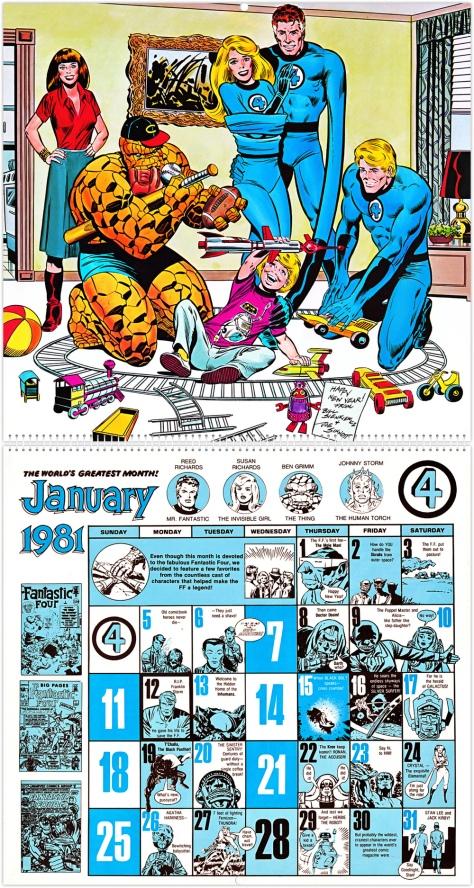 Marvel Comics' 20th Anniversary Calendar 1981, January
