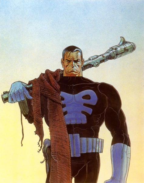 The Punisher, 1990. Artwork by Moebius.