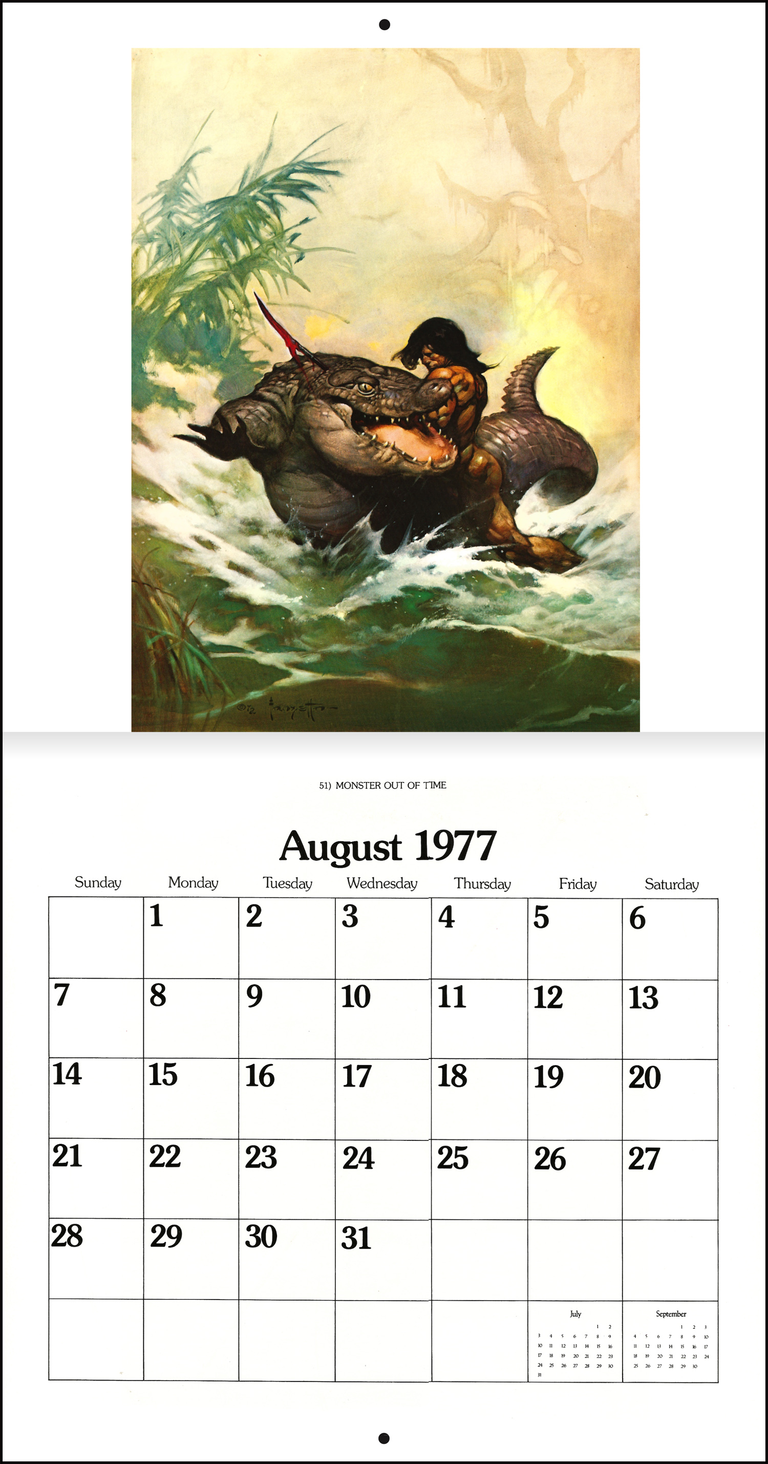 1979 Calendar August.The Frank Frazetta Calendar 1977 Tain T The Meat It S The Humanity