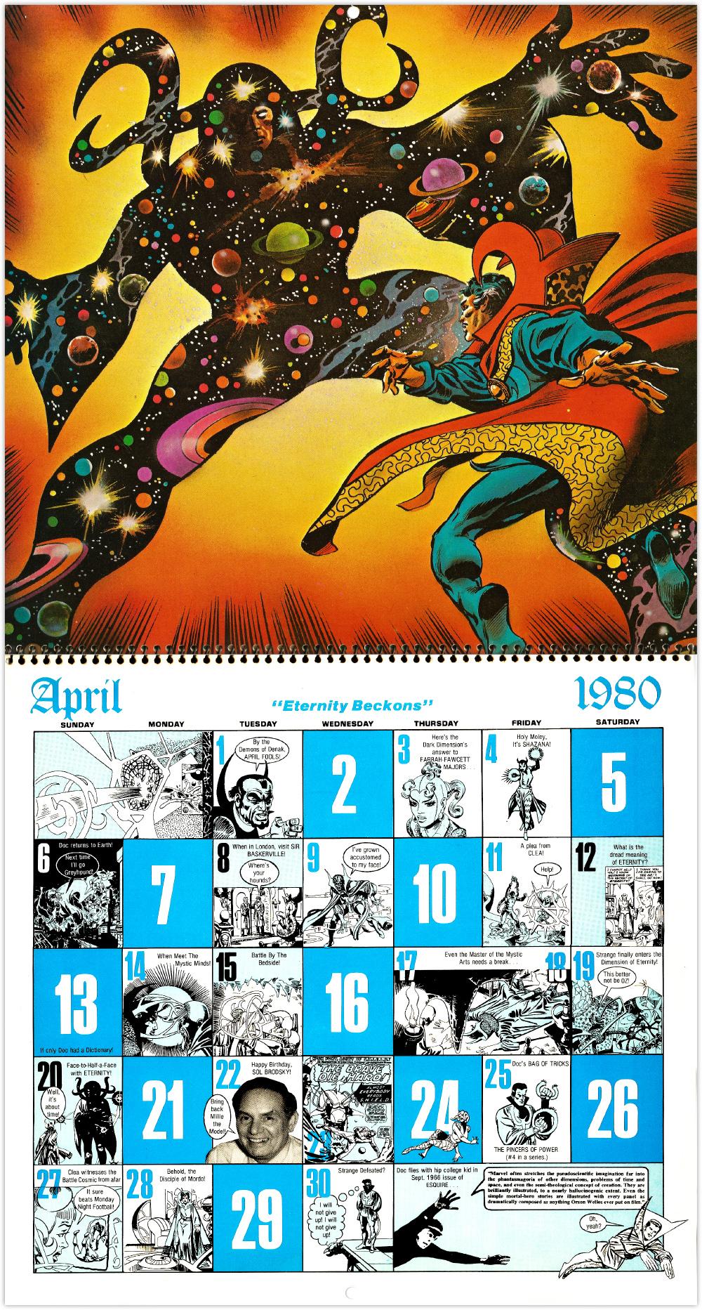 Marvel Comics Calendar 1980 The Occult World Of Doctor Strange