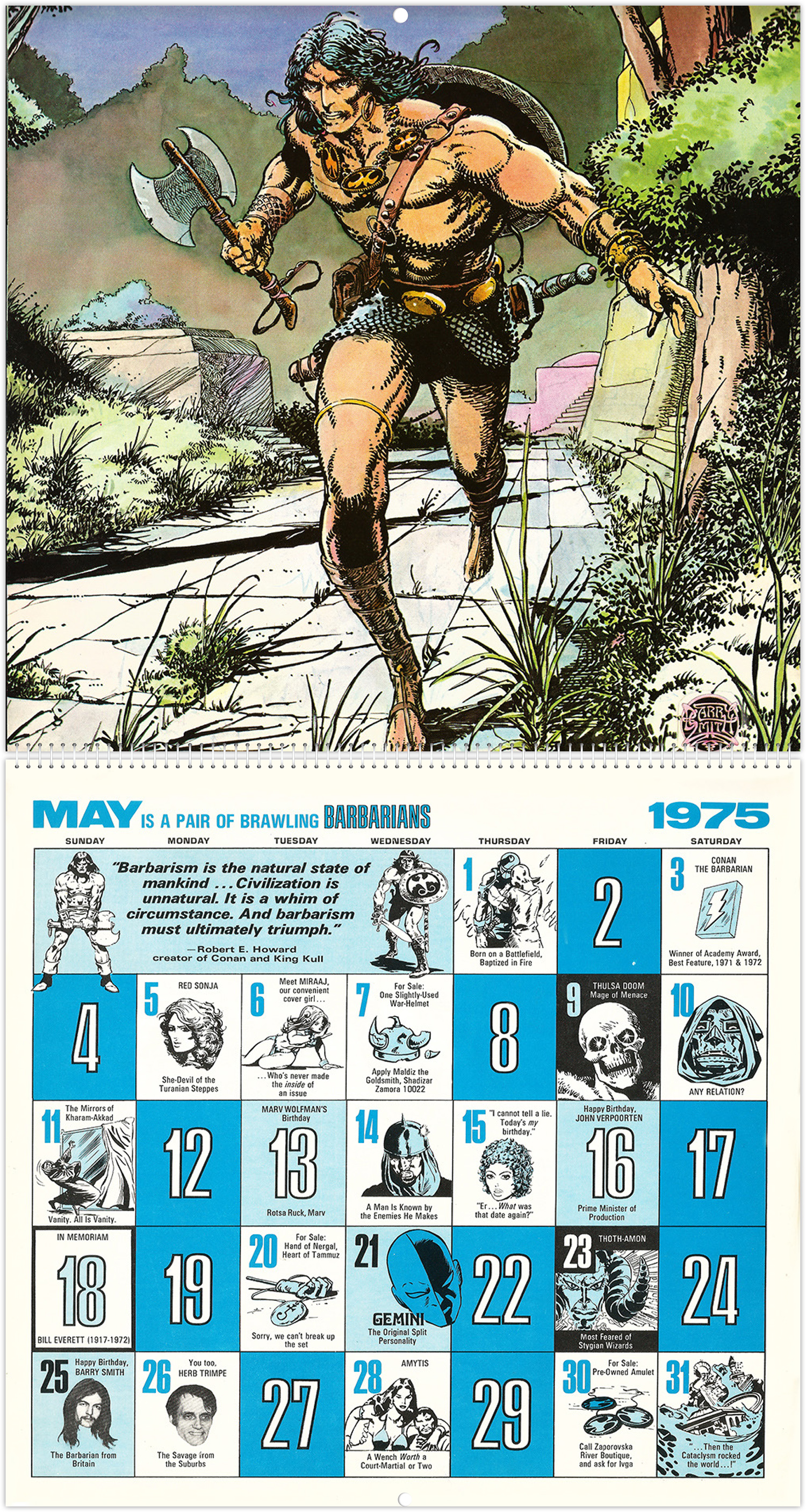 The Mighty Marvel Calendar For 1975 Tain T The Meat It S The