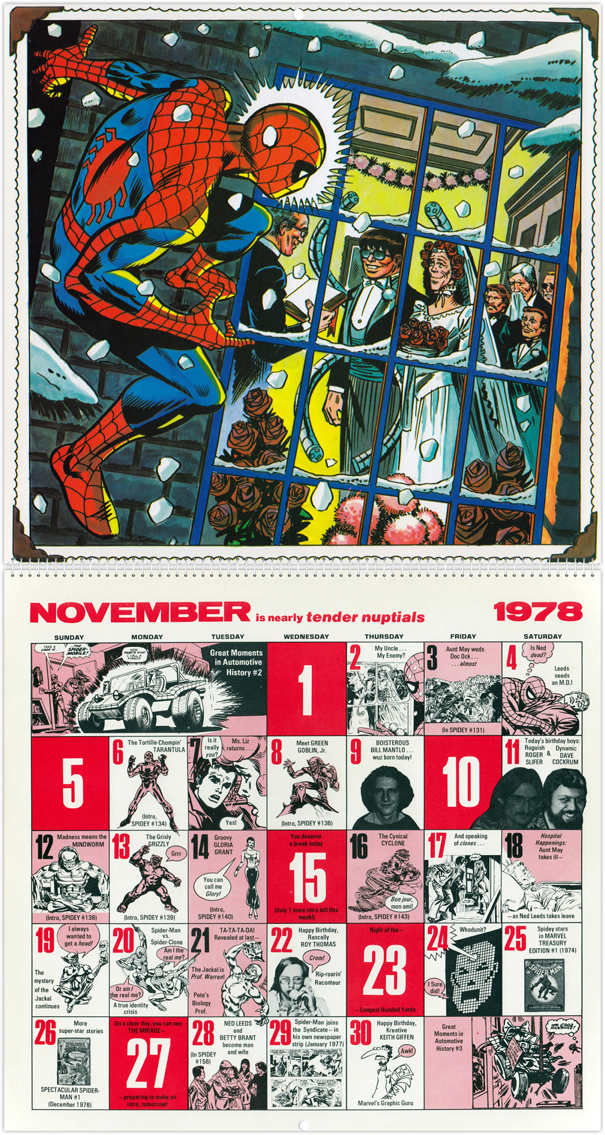 The Amazing Spider Man Mighty Marvel Comics Calendar 1978 Tain T