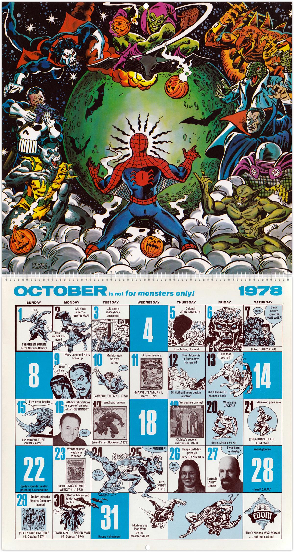 The Amazing Spider Man Mighty Marvel Comics Calendar 1978