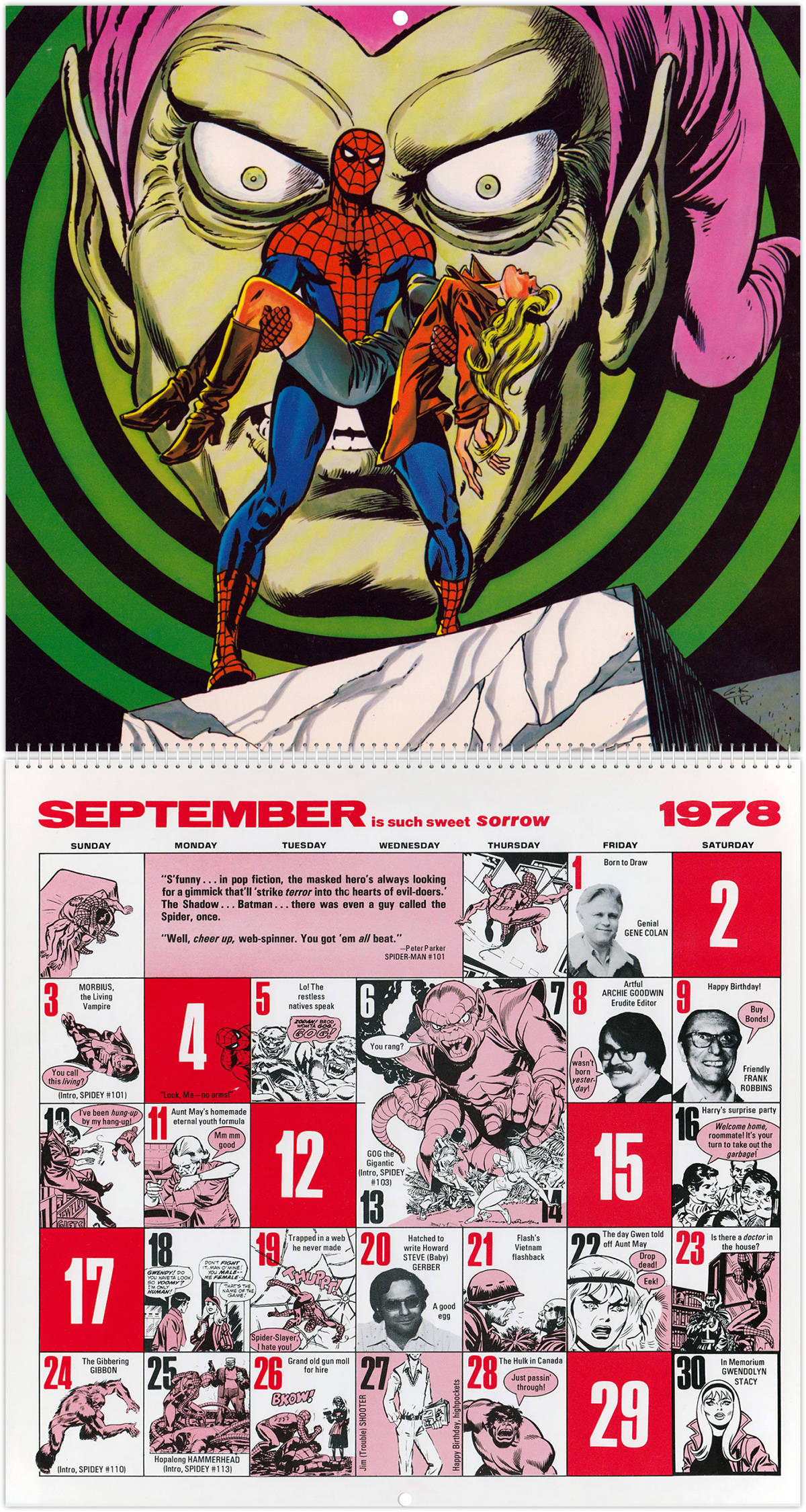 1978 Calendar September.The Amazing Spider Man Mighty Marvel Comics Calendar 1978 Tain T